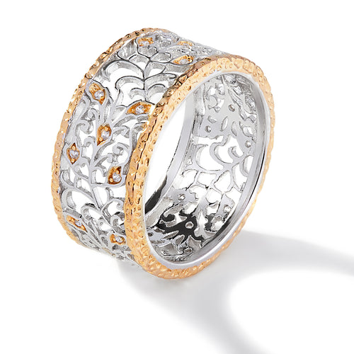 FANCY TWO TONE FILIGREE RING
