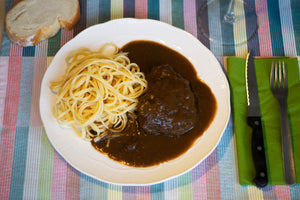 Ox Cheeks with Red Wine and Tagliatelle