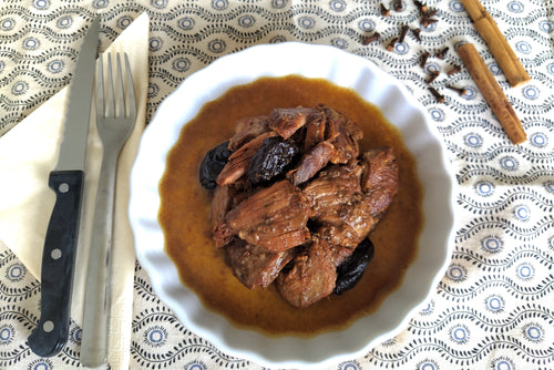 Lamb with prunes and spices (tajine-style) with couscous