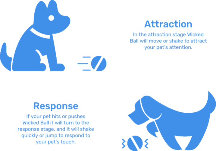 Diagram explaining how Cheerble Wicked Ball attracts pets with movement and responds to pet's touch with a shake or jump