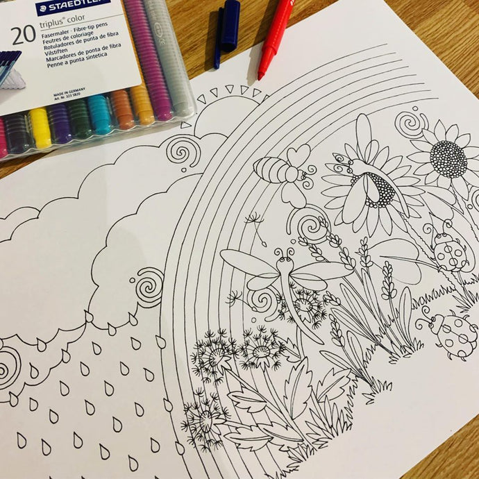 New Collaboration with Artist Lorraine Hall & Free Mindful Rainbow Colouring Sheet