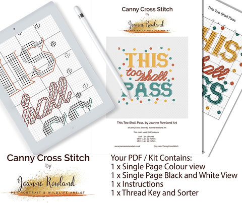This Too Shall Pass Mindful Cross Stitch Kit Pattern and Kit contents