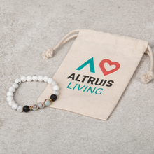 Load image into Gallery viewer, CALM Womens Diffuser Bracelet Howlite & Gold - Diffuser Bracelets - Altruis Living