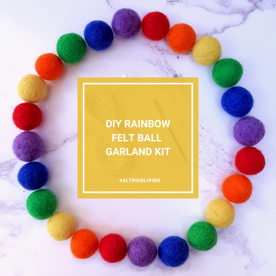 Rainbow DIY Felt Ball Garland Kit - Craft Kit - Altruis Living