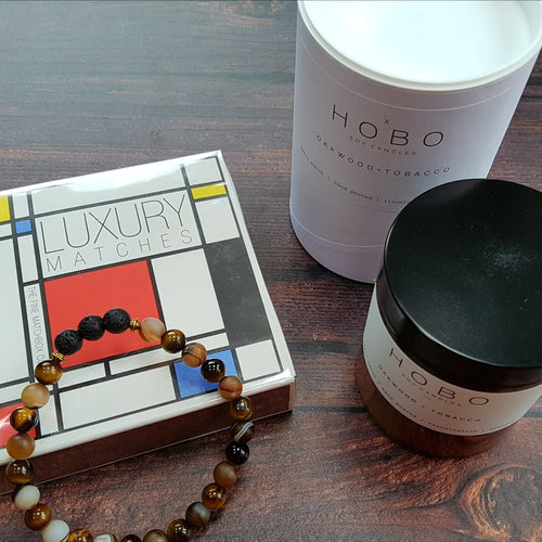 Man Cave Wellbeing Gift Set Hobo Soy Candle, Matches & Diffuser Bracelet - Gift Set - Altruis Living