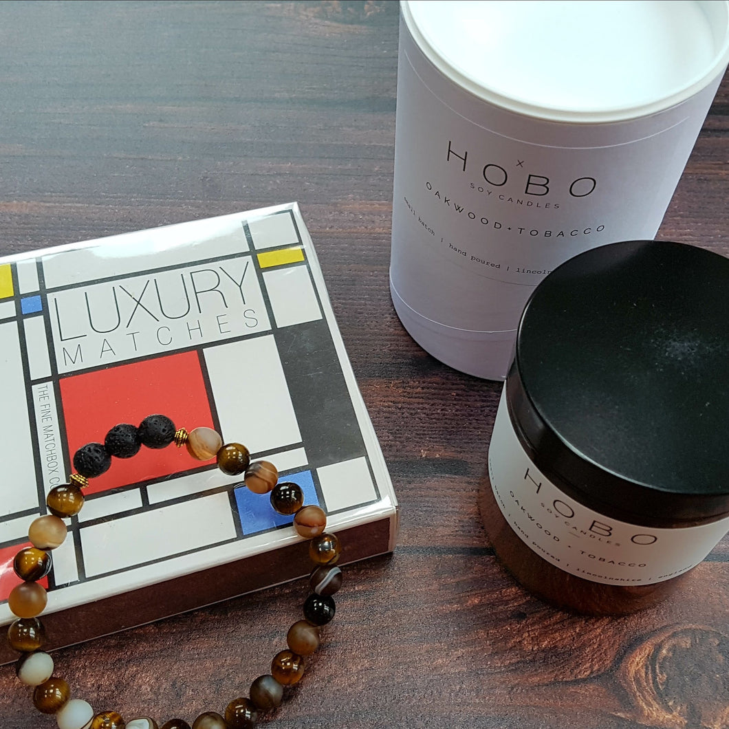 Man Cave Wellbeing Gift Set Hobo Soy Candle, Matches & Essential Oil Diffuser Bracelet - Gift Set - Altruis Living