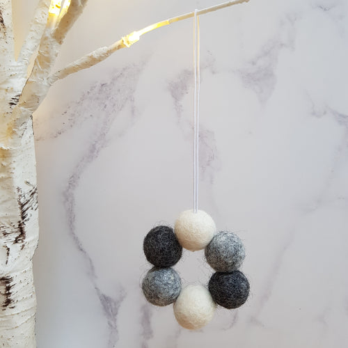 Felt Ball Wreath Aromatherapy Car Diffuser Monochrome - Home & Car Diffuser / Freshner - Altruis Living