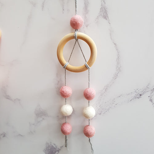 Felt Ball Dream Catcher Aromatherapy Diffuser Pink & White - Home & Car Diffuser / Freshner - Rituals Home