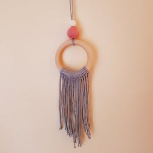Felt Ball Macramé Dream Catcher Aromatherapy Diffuser Pink & White - Home & Car Diffuser / Freshner - Altruis Living