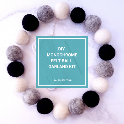 Monochrome DIY Felt Ball Garland Kit - Craft Kit - Altruis Living