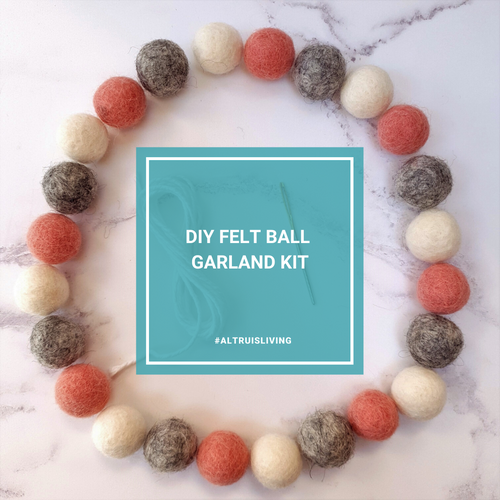 Pink, Grey & White DIY Felt Ball Garland Kit - Craft Kit - Altruis Living