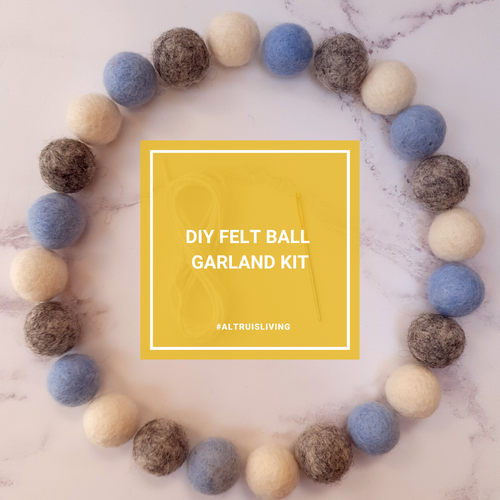 Blue, Grey & White DIY Felt Ball Garland Kit - Craft Kit - Altruis Living