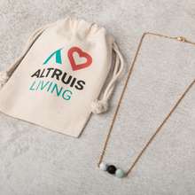 Load image into Gallery viewer, PEACE Essential Oil Diffuser Necklace Howlite & Turquoise - Diffuser Necklaces - Altruis Living