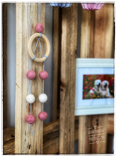 Felt Ball Dream Catcher Aromatherapy Diffuser Pink & White - Home & Car Diffuser / Freshner - Altruis Living