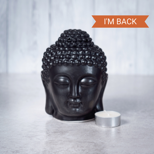 Buddha Head Ceramic Oil Burner (Black) - Oil Burner - Altruis Living