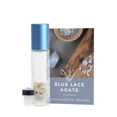 Blue Lace Agate Gemstone Essential Oil Roller Ball Bottle - Calm - Essential Oil Roller Ball Bottles - Altruis Living