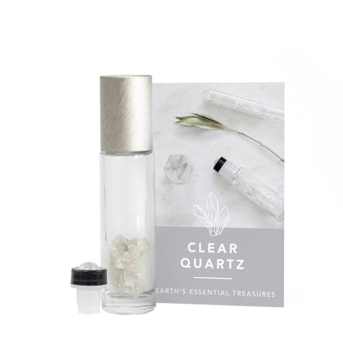 Clear Quartz Gemstone Essential Oil Roller Ball Bottle - Boost - Essential Oil Roller Ball Bottles - Altruis Living
