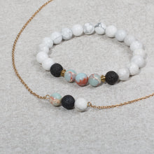 Load image into Gallery viewer, COMFORT Teen Essential Oil Diffuser Bracelet Howlite & Jasper - Diffuser Bracelets - Altruis Living