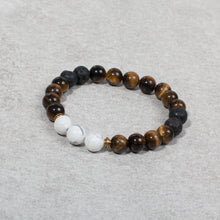 Load image into Gallery viewer, CONFIDENT Womens Essential Oil Diffuser Bracelet Tigers Eye & Howlite - Diffuser Bracelets - Altruis Living