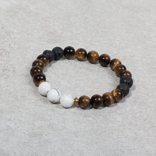 CONFIDENT Womens Essential Oil Diffuser Bracelet Tigers Eye & Howlite