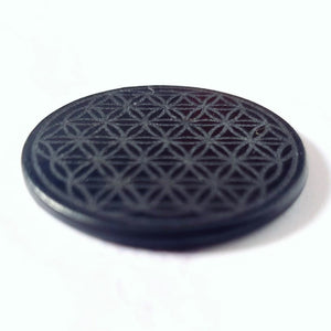 Shungite EMF Protection Plate for Mobile Phones - Flower of Life - Crystals and Gemstones - Altruis Living
