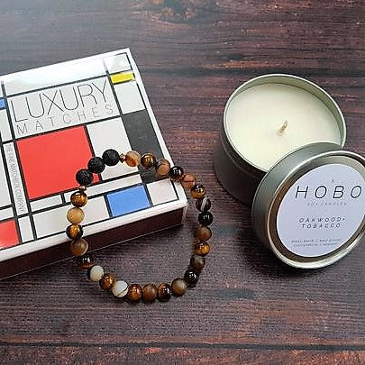 Man Cave Wellbeing Gift Set Hobo Soy Travel Candle, Matches & Essential Oil Diffuser Bracelet - Gift Set - Altruis Living