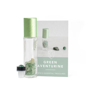 Green Aventurine Gemstone Essential Oil Roller Ball Bottle - Heal - Essential Oil Roller Ball Bottles - Altruis Living