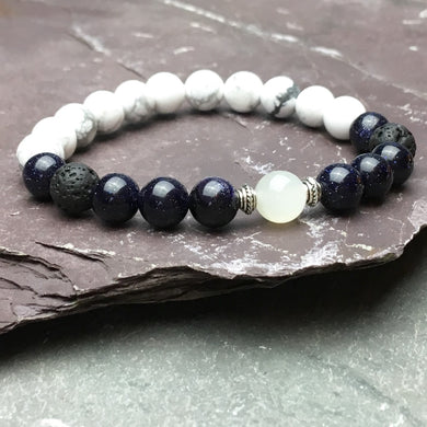 HARMONY Perimenopause / Menopause Womens Diffuser Bracelet Howlite, Blue Goldstone & Moonstone - Diffuser Bracelets - Rituals Home