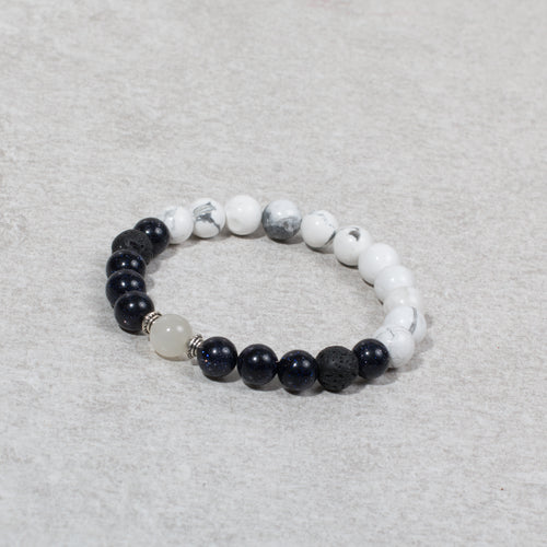 HARMONY Perimenopause / Menopause Womens Diffuser Bracelet Howlite, Blue Goldstone & Moonstone - Diffuser Bracelets - Altruis Living