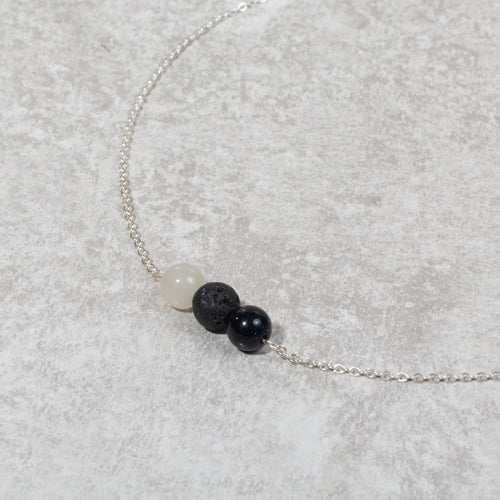 HARMONY Perimenopause / Menopause Womens Diffuser Necklace Howlite, Blue Goldstone & Moonstone - Diffuser Necklaces - Altruis Living