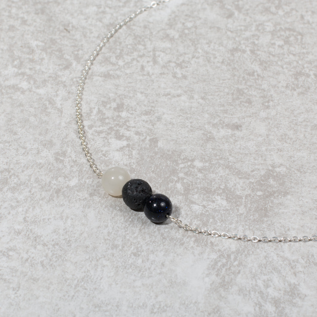 HARMONY Perimenopause / Menopause Womens Diffuser Necklace Howlite, Blue Goldstone & Moonstone - Diffuser Necklaces - Rituals Home