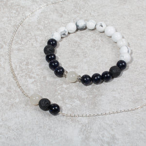 HARMONY Perimenopause / Menopause Womens Essential Oil Diffuser Bracelet Howlite, Blue Goldstone & Moonstone - Diffuser Bracelets - Altruis Living