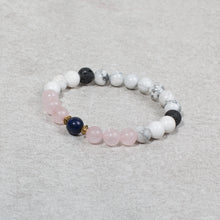 Load image into Gallery viewer, HEART & SOUL Kids Essential Oil Diffuser Bracelet Howlite & Rose Quartz - Diffuser Bracelets - Altruis Living