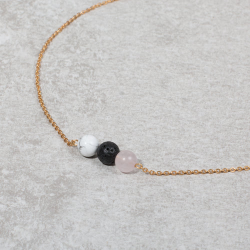 HEART & SOUL Diffuser Necklace Howlite & Rose Quartz - Diffuser Necklaces - Altruis Living