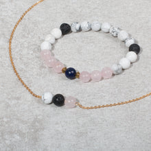 Load image into Gallery viewer, HEART & SOUL Essential Oil Diffuser Necklace Howlite & Rose Quartz - Diffuser Necklaces - Altruis Living