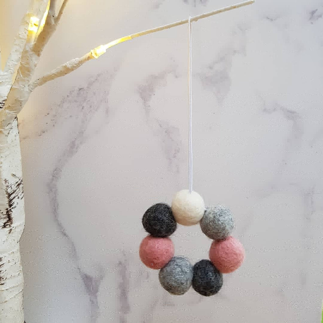 Felt Ball Wreath Aromatherapy Car Diffuser Pink, Greys & White - Home & Car Diffuser / Freshner - Altruis Living