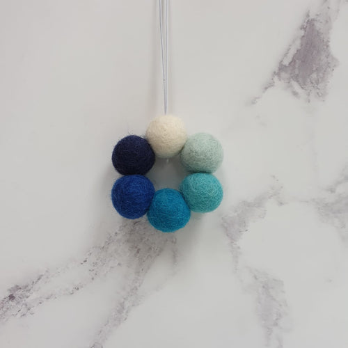 Felt Ball Wreath Aromatherapy Car Diffuser Blue Ombre - Home & Car Diffuser / Freshner - Altruis Living