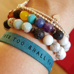 Leather Mantra Band / Essential Oil Diffuser Bracelet - This Too Shall Pass (Turquoise) - Mantra Jewellery - Altruis Living