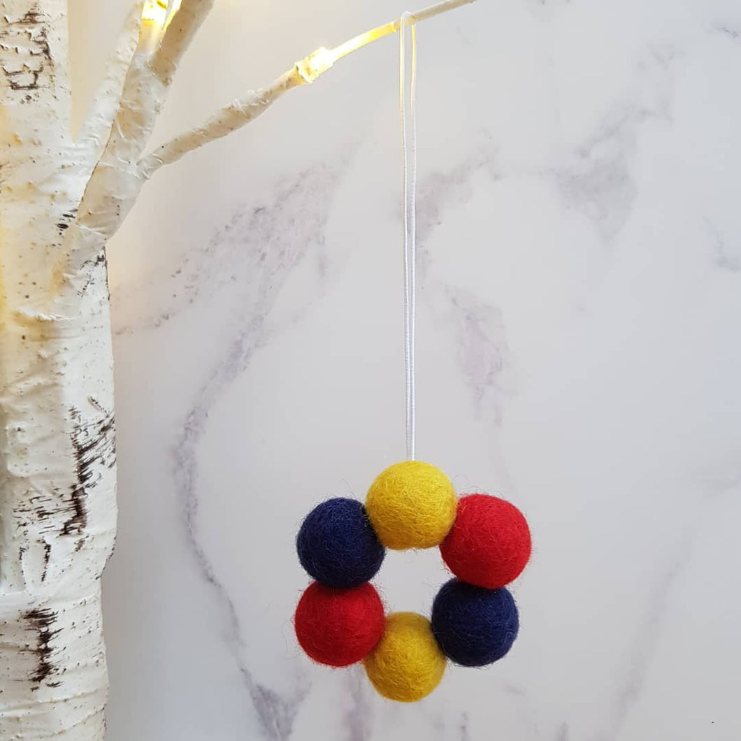 Felt Ball Wreath Aromatherapy Car Diffuser Mustard, Navy & Red - Home & Car Diffuser / Freshner - Altruis Living