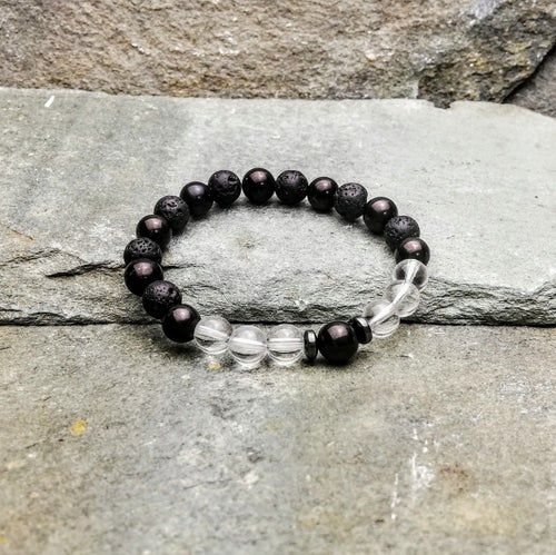 SHIELD & PROTECT Womens Essential Oil Diffuser Bracelet Shungite, Clear Quartz & Hemetite - Diffuser Bracelets - Altruis Living
