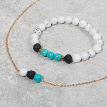 Load image into Gallery viewer, PEACE Womens Essential Oil Diffuser Bracelet Howlite & Turquoise - Diffuser Bracelets - Altruis Living