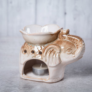 Elephant Ceramic Oil Burner (Cream & Brown) - Oil Burner - Altruis Living