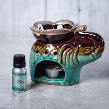 Load image into Gallery viewer, Elephant Ceramic Oil Burner (Turquoise & Brown) - Oil Burner - Altruis Living