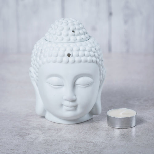 Buddha Head Ceramic Oil Burner (White) - Oil Burner - Rituals Home