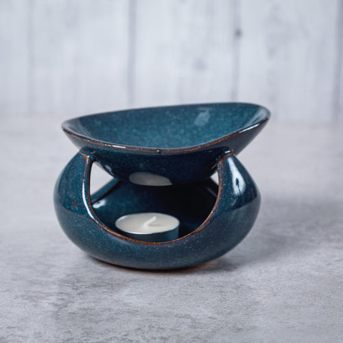 Abstract Deep Bowl Ceramic Oil Burner (Blue) - Oil Burner - Altruis Living