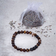 Load image into Gallery viewer, STRENGTH Mens Diffuser Bracelet Brown Agate, Tiger's Eye & Black Onyx - Diffuser Bracelets - Rituals Home