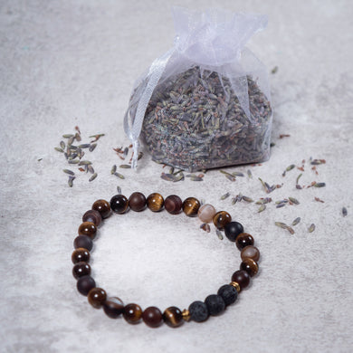 STRENGTH Mens Diffuser Bracelet Brown Agate, Tiger's Eye & Black Onyx - Diffuser Bracelets - Rituals Home