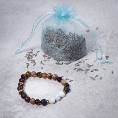 BELIEVE Womens Diffuser Bracelet Brown Agate, Tiger's Eye, Black Onyx & Howlite - Diffuser Bracelets - Rituals Home