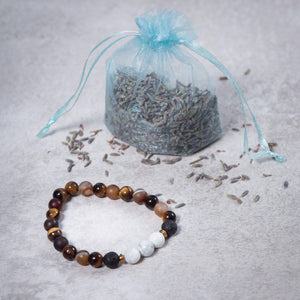 BELIEVE Womens Essential Oil Diffuser Bracelet Brown Agate, Tiger's Eye, Black Onyx & Howlite - Diffuser Bracelets - Altruis Living