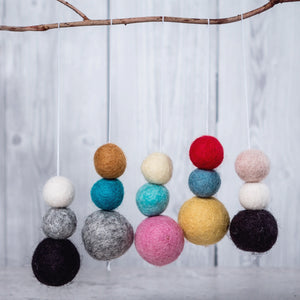 Felt Ball Aromatherapy Car Diffuser Grey, Teal & Mustard - Home & Car Diffuser / Freshner - Altruis Living